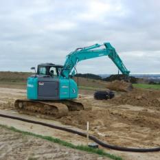 Pronto Hire Kobelco SK135 drainage job